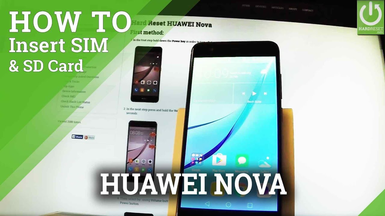 How to Set SIM and SD Card in HUAWEI Nova - Install SIM & SD