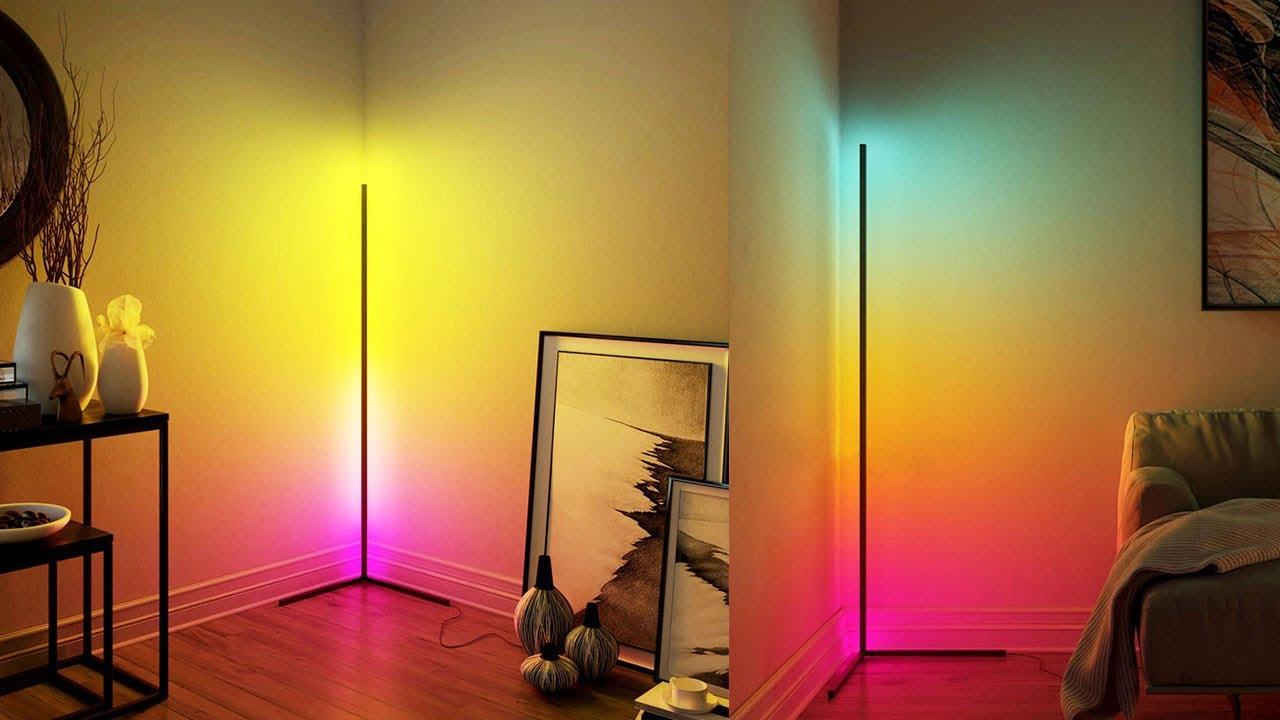 Multicolored Led Corner Floor Lamp Demo, Minimalist Led Corner Floor Lamp Uk