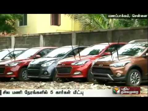 Police rescue five out of Seven cars in Manapakkam.