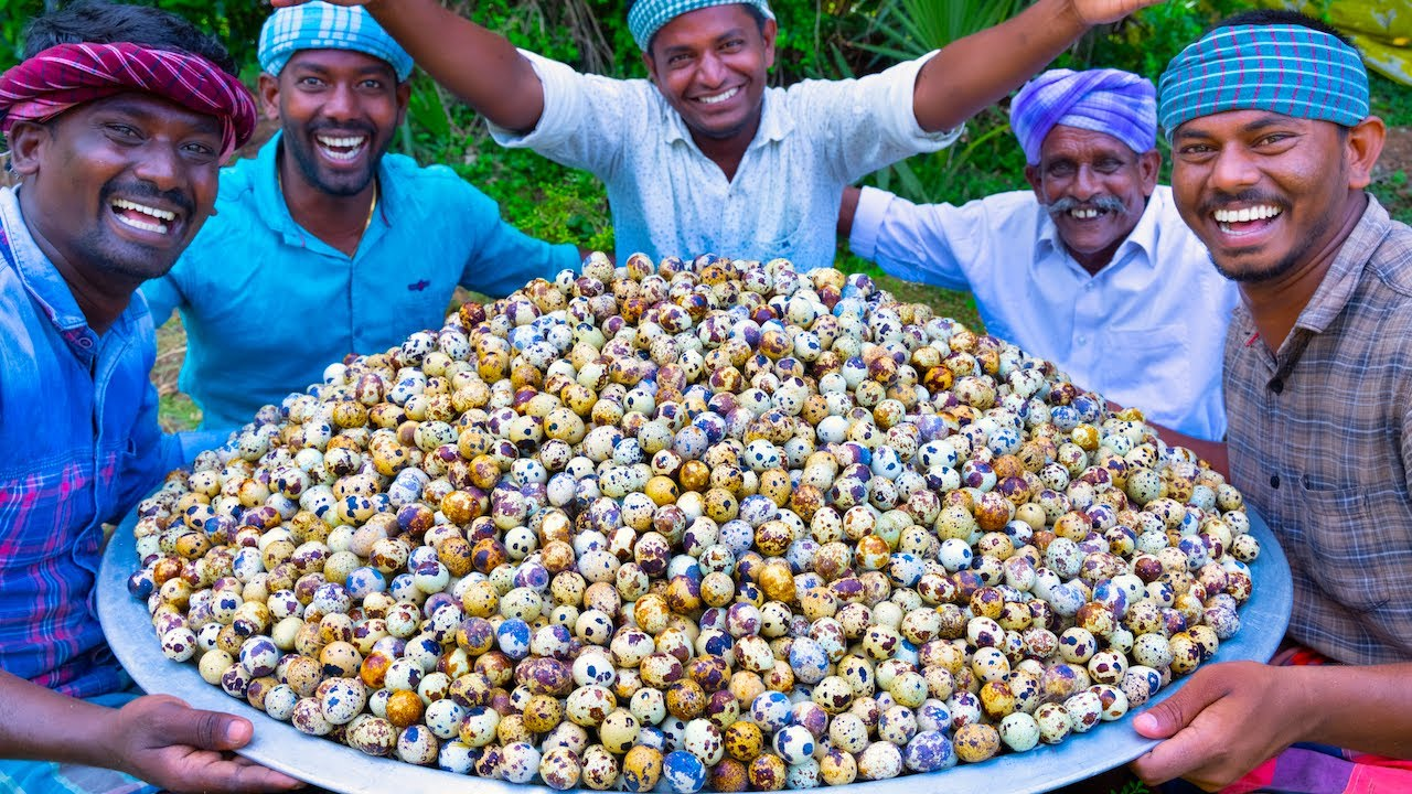 5000 TINY EGGS   5k Quail Eggs Cooking in Village   Spicy Recipe With Traditional Hand Ground Masala
