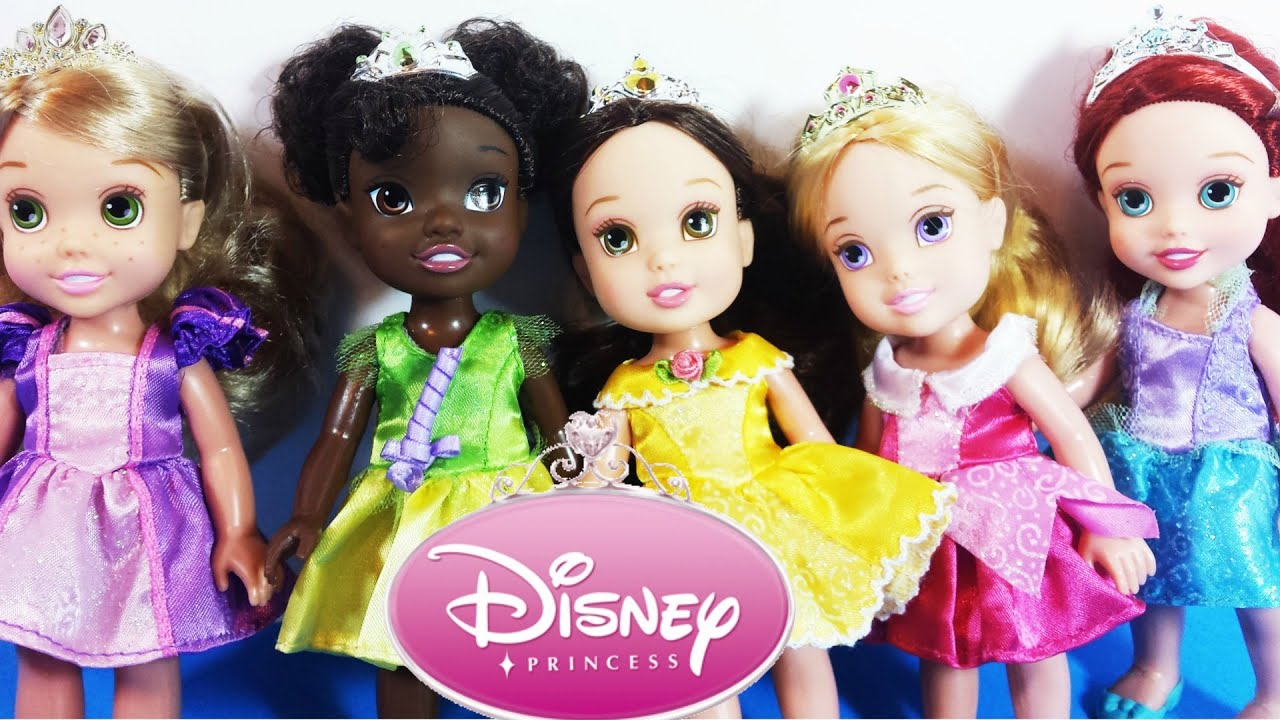Disney princess petite princess party gift set rapunzel aurora tiana belle ariel youtube - Petite princesse disney ...