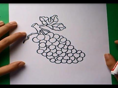 Como dibujar un racimo de uvas paso a paso | How to draw a bunch of ...