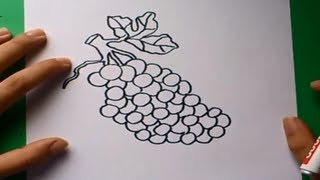 Como dibujar un racimo de uvas paso a paso | How to draw a bunch of grapes