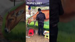 Folk artist goes viral in China for his lifelike paintings of oxen on the rocks! #ChinaGotTalent