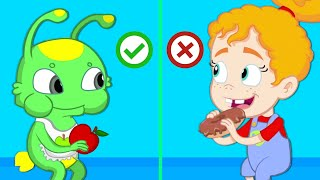 Groovy the Martian - Lunchbox challenge at school! Learn to eat healthy fruits and veggies
