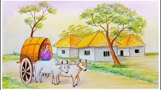 How to draw scenery of bullock cart step by step