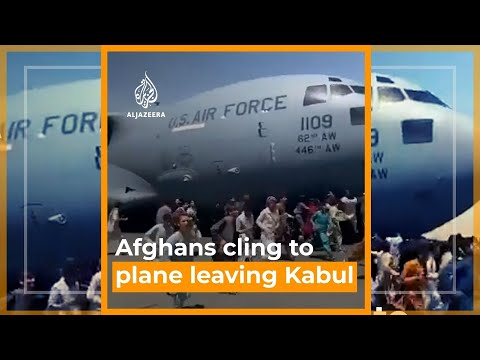 Shocking footage of Afghans falling from sky after clinging to US plane   AJ #shorts