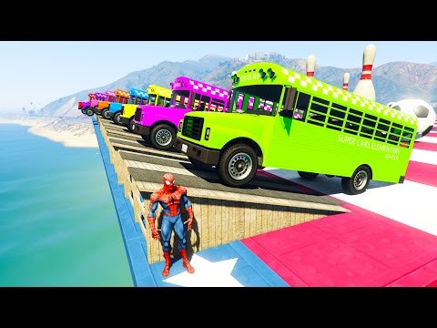 Thumbnail: COLOR SCHOOL BUS Jumping into the water! 3D Animation cartoon for kids and babies