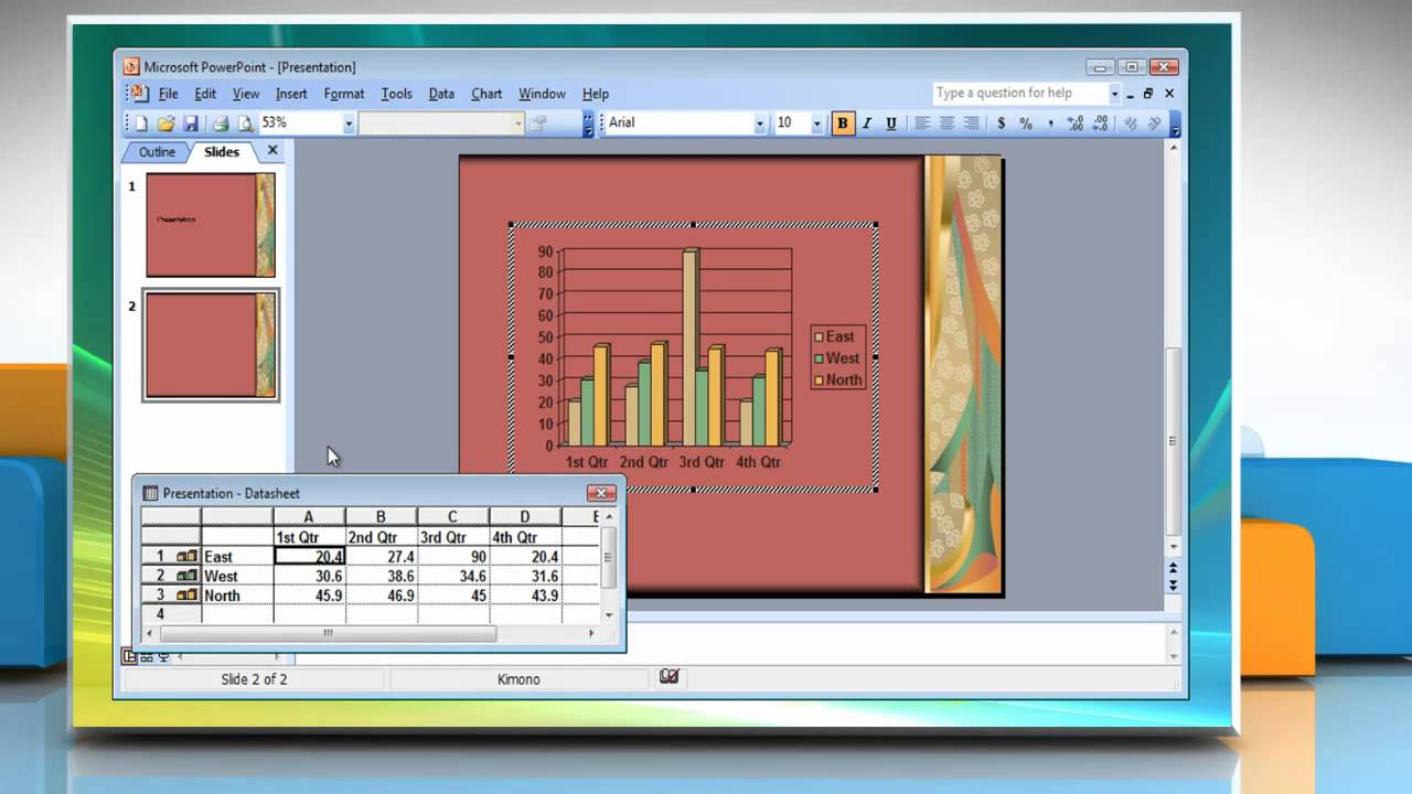 Microsoft powerpoint 2003 how to insert chart into presentation on