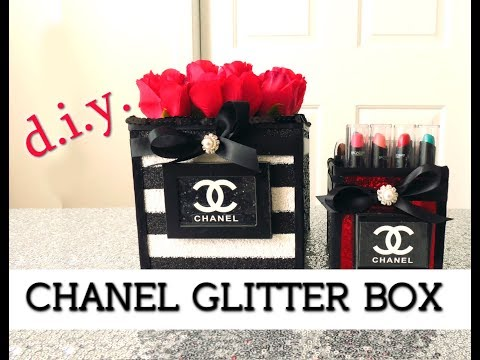 DIY Gorgeous Black and White Chanel Glitter Box   $10
