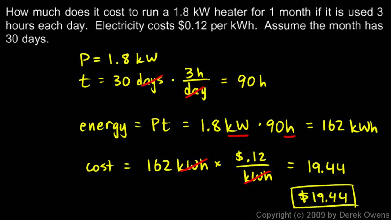Physics 13.3.3a - The Kilowatt hour - YouTube