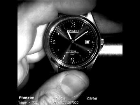 High-speed camera film of a wrist watch at 6000 frames per second