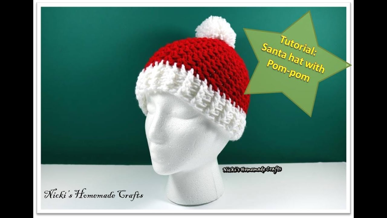 Santa Hat With Pom Pom Free Crochet Pattern Nickis Homemade Crafts