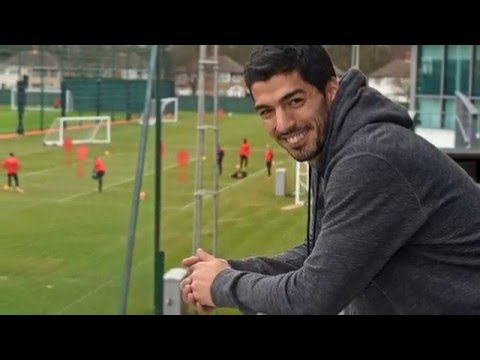 Luis Suarez returns to Liverpool's Melwood training ground to pay visit to former team-mates