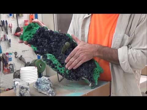 Prep Work: Azurite crystals and Malachite, Milpillas Mine, Sonora, Mexico - Part 1 of 3