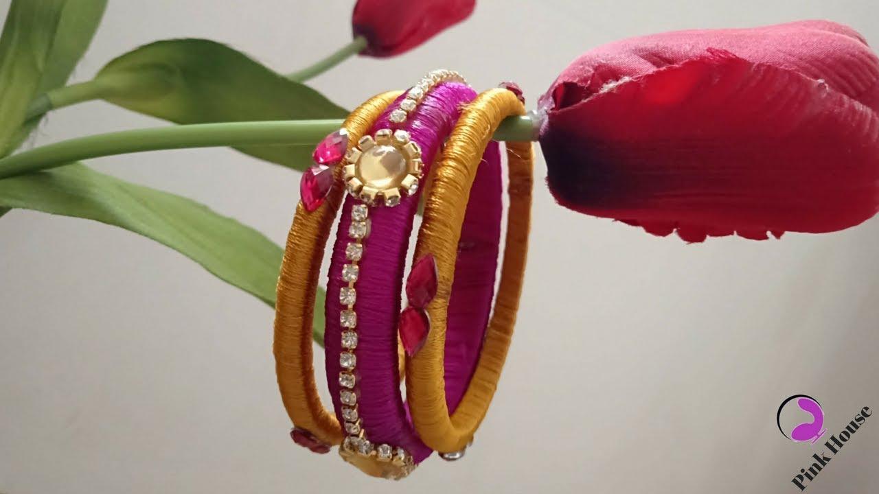 e08eaa944 How To Make Designer Bangles Using Silk Thread | Silk Thread Bangles DIY -  Pink House