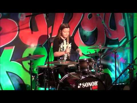 Estere Nikola Krūmiņa 10 years old girl playing drumms/  «30 seconds to Mars»  «Closer to the Edge»