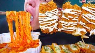 갈릭마요를 듬뿍뿌린 통치즈돈까스와 치즈3개추가한 엽떡 먹방 당황주의 리얼사운드 REAL SOUND MUKBANG