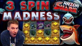 3 SPIN MADNESS on Razor Shark Slot - £10 Bet!
