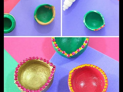 Diya decorations with colour paper for school competition.