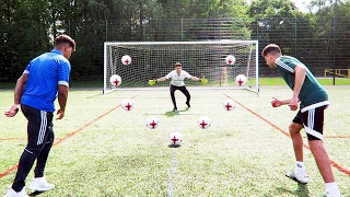 Insane threeway football challenges!! best striker on youtube?