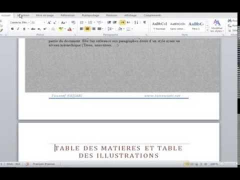 Créer Une Table De Matières Word 2010