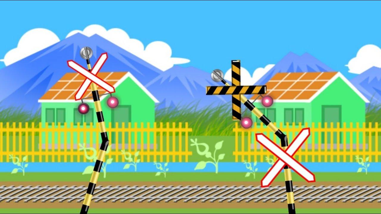 Download Palang pintu kereta api bergoyang joget suara musik lucu - animasi perlintasan kereta api panjang 踏切