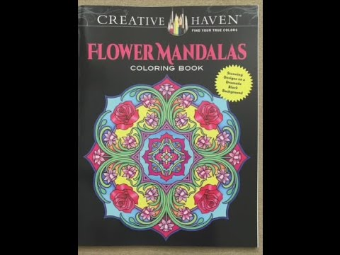 Creative Haven Flower Mandalas Coloring Book On A Dramatic Black Background Flip Through