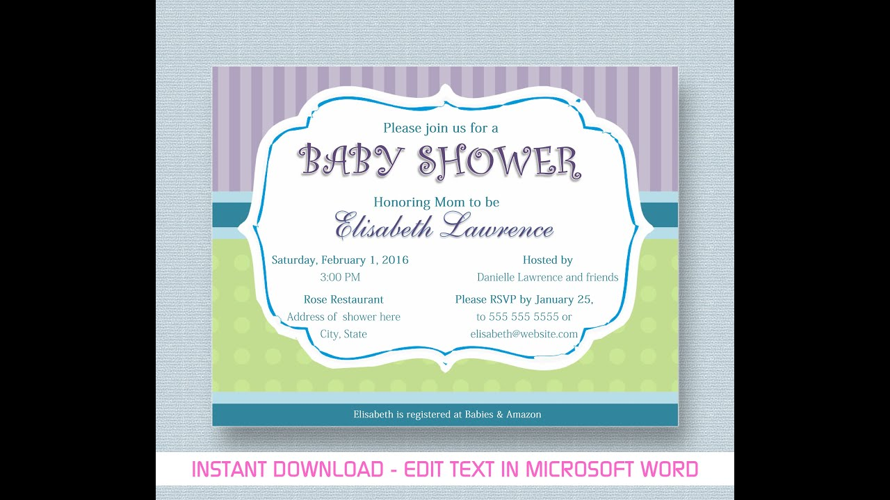 Baby Shower Invitation For Microsoft Word   YouTube  Free Downloadable Baby Shower Invitations Templates