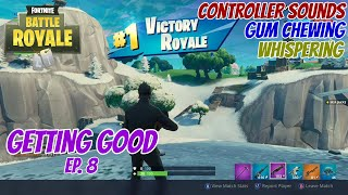 ASMR Gaming: Fortnite | Gum Chewing, Whispering, Controller Sounds - Getting Good Ep 8.