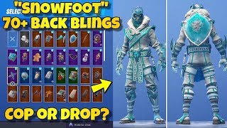 "NEW ""SNOWFOOT"" SKIN Showcased With 70+ BACK BLINGS! Fortnite Battle Royale (BEFORE YOU BUY)"