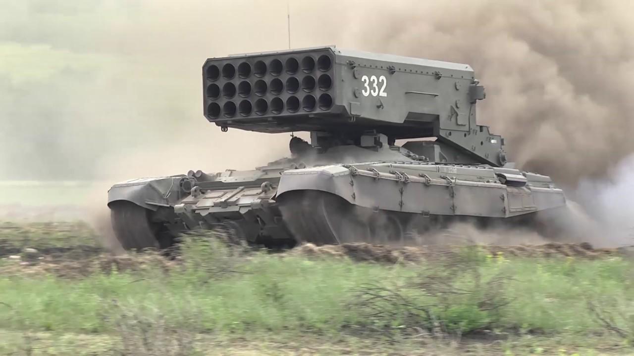 Стрельба тяжелых огнеметных систем ТОС-1А «Солнцепек» в Саратовской области