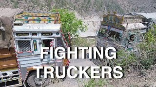 Indian Truck Drivers Fighting in the Mountains