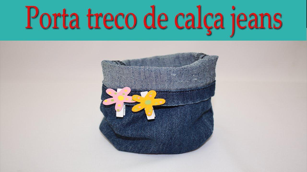 Diy Upcycled Denim Bucket Porta Treco De Jeans