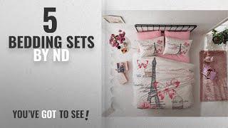 Top 10 Nd Bedding Sets [2018]: Deconation 100% Cotton Comforter Set Single Twin Full Size Paris Pink