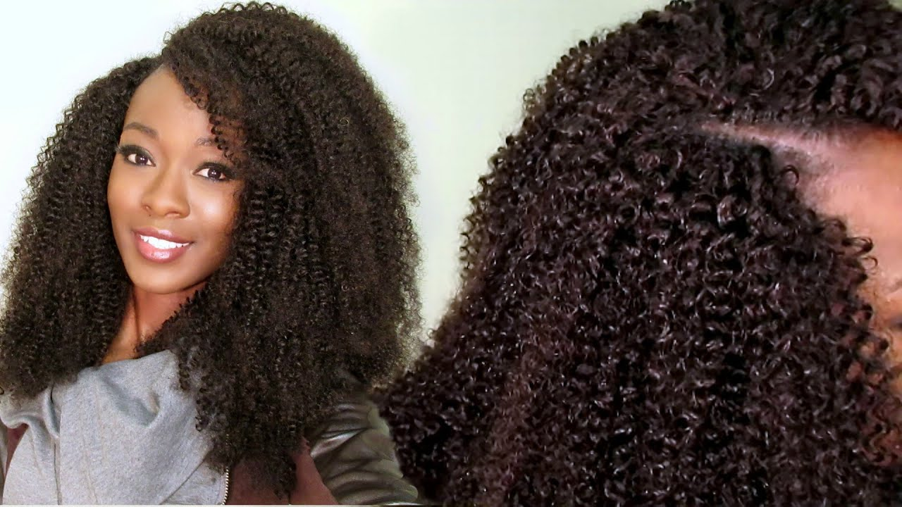 invisible u-part kinky curly wig using a crochet/ latch hook #hergivenhair