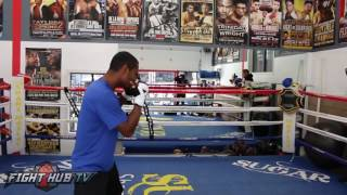 Shane Mosley vs. David Avanesyan Full Video- Mosley's Complete media workout w/Roberto Duran