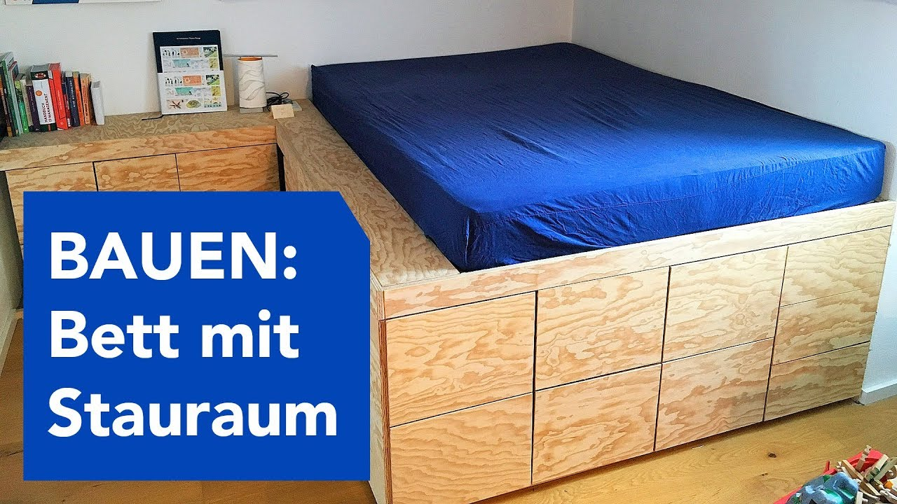 Bett Auf Podest Build Double Bed With Lots Of Storage