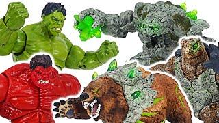 Avengers Red Hulk, Hulk VS Eldrador Stone Golem, Cave Bear, Armoured Turtle!   DuDuPopTOY