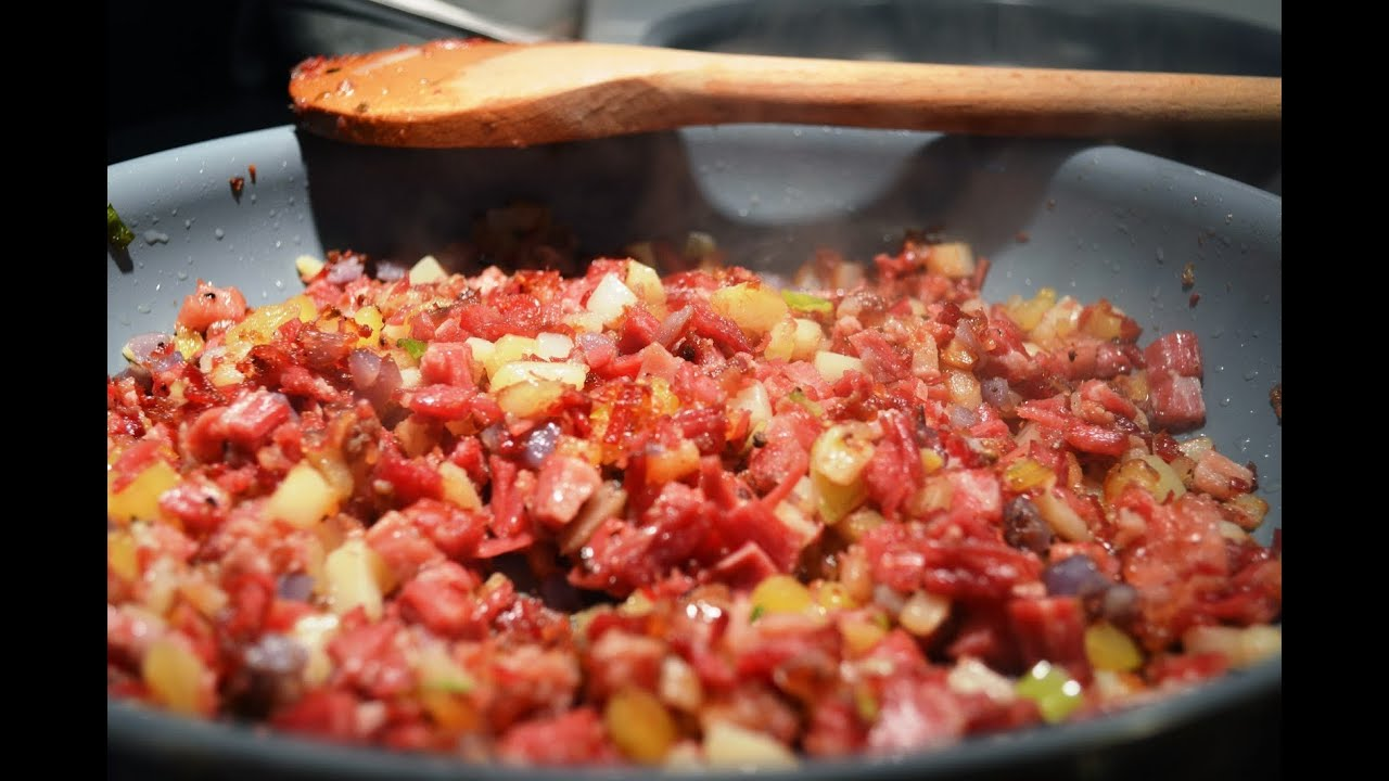 Corned beef hash sunnyside up eggs youtube for What to do with salt beef