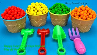 Learn Colors with Play Doh Dippin Dots Ice Cream Cups   Kinder Surprise Eggs