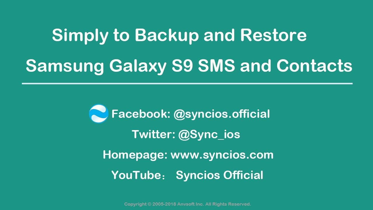 How to Backup and Restore Samsung Galaxy S9/S9+ Contacts and