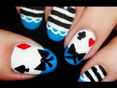 Alice In Wonderland Costume Inspired Nail Art