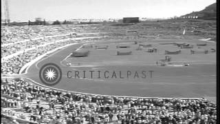Crowded stadium during Summer Olympics of 1960 in Rome, Italy. HD Stock Footage