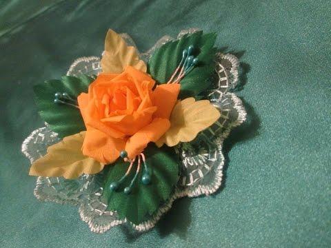 Заколка для волос с кружевом  своими руками / Розы из ткани  Мастер класс
