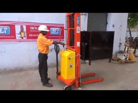 Demo Of JET Semi Electric Stacker For Pallet Stacking By Tech Mech, Meerut, 9313159058