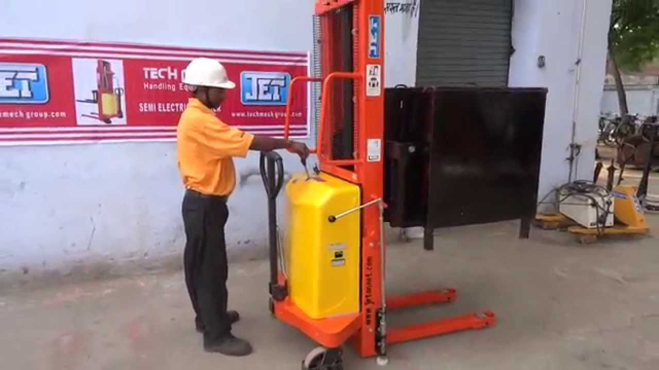 Demo Of Jet Semi Electric Stacker For Pallet Stacking By