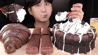 SUB)초코 생크림케이크랑 초코빵 먹방 CHOCOLAT…