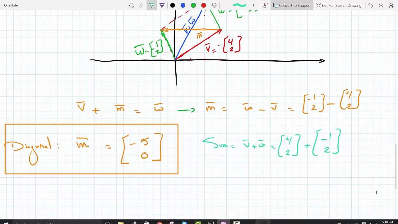 Finding The Diagonal Of A Parallelogram Given Vector Sides Then Finding Sum  Linear Algebra 118