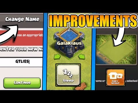 QUALITY OF LIFE CHANGES IN COC | CHANGE NAME WITH 500 GEMS | COPY LAYOUT | CLAN CASTLE SLEEP MODE !!
